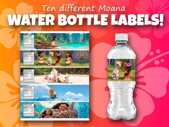 Moana Themed Water Bottle Covers By ChurchHillDesignCo