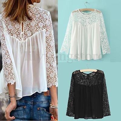 2016 Plus size Women Ladies Casual Lace Shirts Chiffon Blouse T Shirt Tops S-4XL