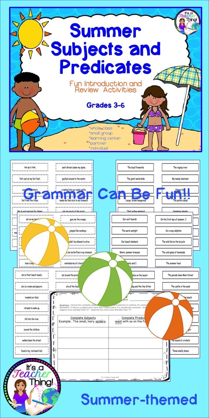 The Subject and Predicate Activities from It's a Teacher Thing will add fun to your end-of-the-year lessons and enhance student learning.  Perfect for introduction or review. You'll receive the following: *48-complete subject slips with solid borders  *48-complete predicate slips with dotted line borders  *1-worksheet for combining the subjects and predicates to create complete sentences *A list of activities for utilizing Subject and Predicate Slips.