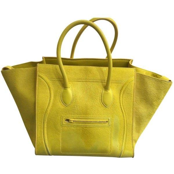 Pre-owned Céline Luggage Phantom Handbag (6.330 BRL) ❤ liked on Polyvore featuring bags, handbags, women bags handbags, yellow, yellow tote bag, celine tote bag, yellow hand bags, preowned handbags and handbag purse