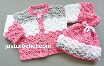 Free crochet pattern for coat and hat set, suitable for preemie baby or 16 inch in length doll FJC81 http://www.justcrochet.com/dolls-coat-hat-usa.html #justcrochet