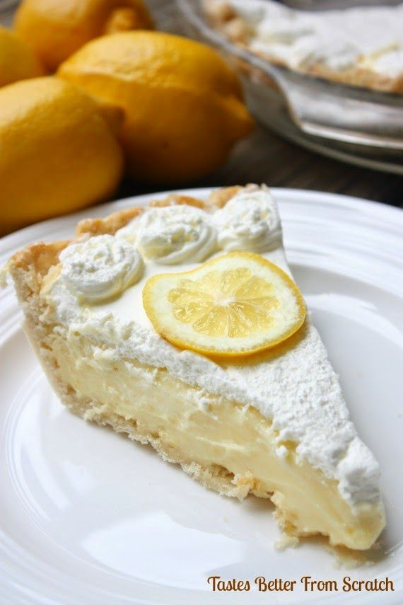The BEST Lemon Sour Cream Pie | Tastes Better From Scratch #lemon #pie