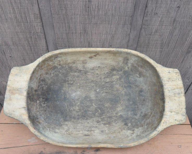 "ANTIQUE 25"" WOODEN TRENCHER DOUGH BOWL FOUND WOODSTOCK VA. SHENANDOAH VALLEY    Sold  Ebay   293.00"
