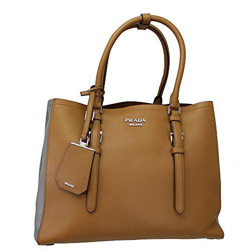 Prada Women's Brown/ Gray Leather Tote Bag W/strap Bn2848