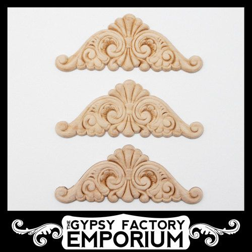Small Ornate Carved Wood Embellishments 3 Pcs