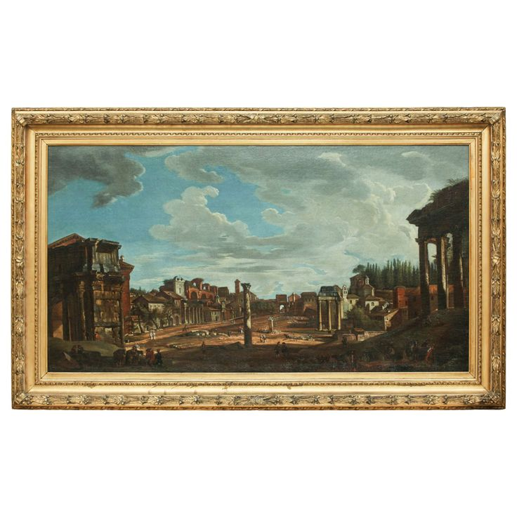 Attributed to Giovanni P. Pannini, View of the Roman Forum, circa 1730 | From a unique collection of antique and modern paintings at https://www.1stdibs.com/furniture/wall-decorations/paintings/