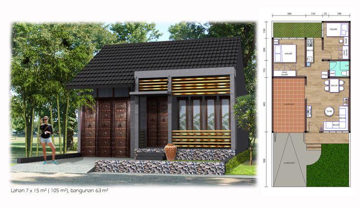 (Tirai-Bambu01) 63 m² house on 105 m² land with 2 bedrooms, 1 bathroom, garage and carport.