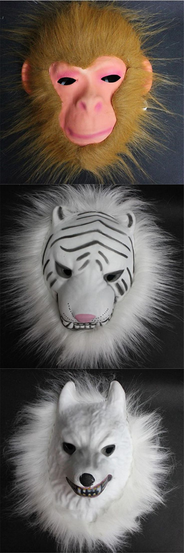 [Visit to Buy] Full Face Cosplay Costume Mask Tiger/Monkey/Wolf Realistic Fur Mane Latex Mask Creepy Animal Partern Fool' Day Gift F20 #Advertisement