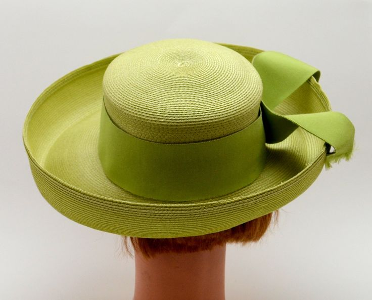 Vintage Green Hat, Valerie Modes Spring Green Ladies Panama Hat with Wide Brim and Ribbon, Easter Hat, circa 1960s by UpswingVintage on Etsy https://www.etsy.com/listing/514565735/vintage-green-hat-valerie-modes-spring