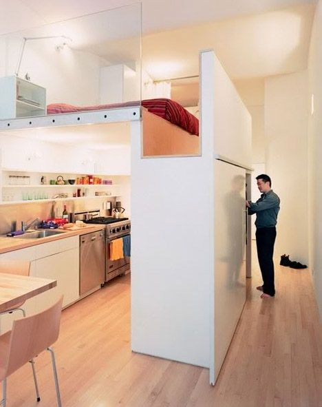 "loft bed - plausible idea for a smaller footprint ""guest house"" set up, or for conversion of a portion of shop area."