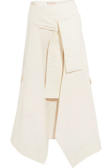 minimal + chic // Marni | Asymmetric wrap-effect cotton midi skirt | NET-A-PORTER.COM