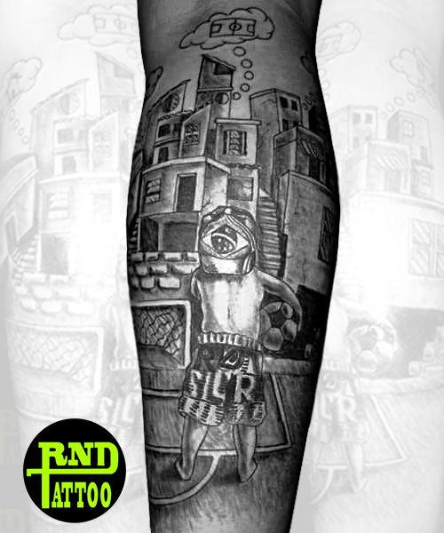 Tattoo, masculina, panturrilha, futebol, favela.                              …