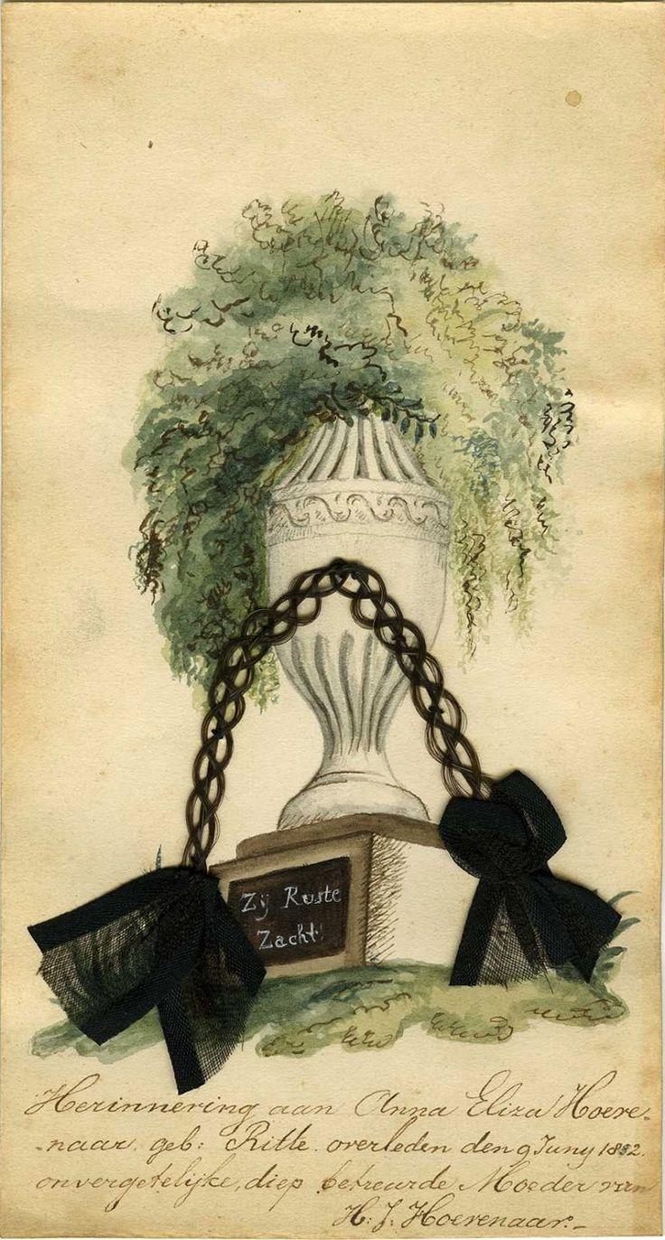 """Blad uit het Album Amicorum van Hendrika Josepha Hoevenaar 1826-1871. Tekst: """"Herinnering aan Anna Eliza Hoevenaar geb. Ritte overleden den 9 junij 1852. Onvergetelijke diep betreurde Moeder van H.J. Hoevenaar"""" Noot: het zwarte rouwvlechtje is gevlochten uit het eigen haar van Anna Eliza. Anna Eliza was gehuwd met Nicolaas Ludolph Hoevenaar."""