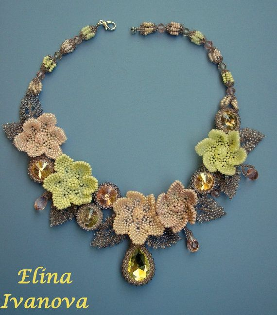 Beaded Necklace Light Spring Blossom Ooak Necklace