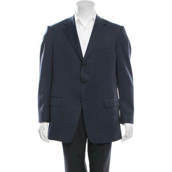 Pre-owned Ermenegildo Zegna Wool Blazer (176,300 KRW) ❤ liked on Polyvore featuring men's fashion, men's clothing, men's sportcoats, blue, mens clothing, mens blue blazer, mens blazers, mens striped blazer and mens wool blazer