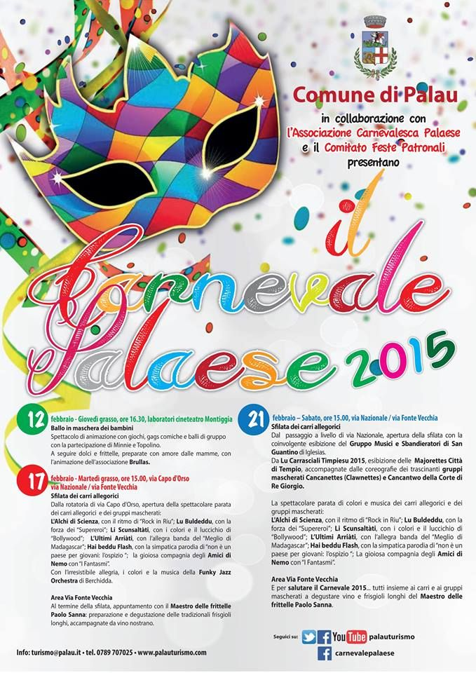 Carnevale Palease 2015 Dal 12 al 21 febbraio. Sfilate dei carri allegorici, spettacoli per bambini, majorettes, sbandieratori e frittelle per tutti!