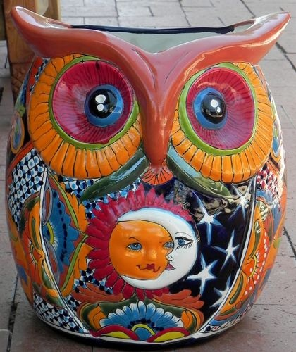 Large Mexican Talavera Planter Owl Inspiration