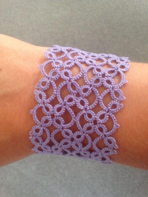 Shuttle-tatted lace bracelet in periwinkle on Etsy, $25.00