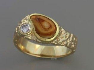 Gents Elk Ivory Ring 14K Yellow Gold