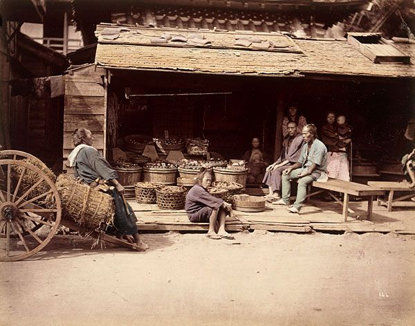 Japanese Old Poto物売りの光景