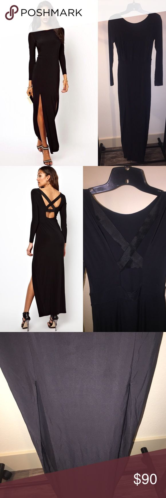 River Island Black Long Sleeve Maxi Dress Sz 2 Tag say 6 but that is a uk 6 which is a us 2.  stretchy material.  No zipper.  Elastic strap detail at the back.  Two splits in the front. River Island Dresses Maxi