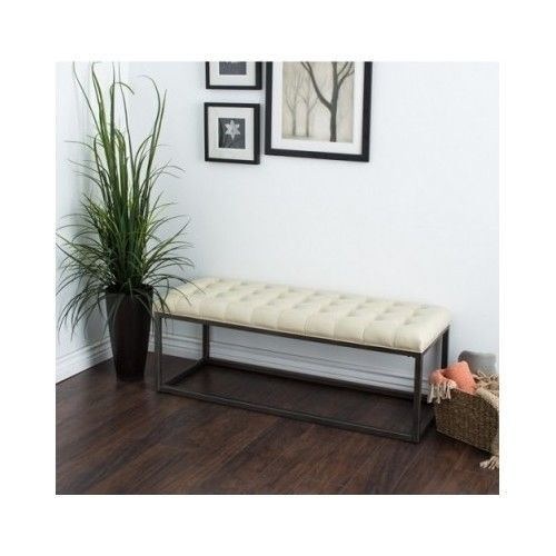 Bonded Leather Bench Seat Furniture Metal Frame Ottoman Tufted Home Office Decor #Healy #Modern