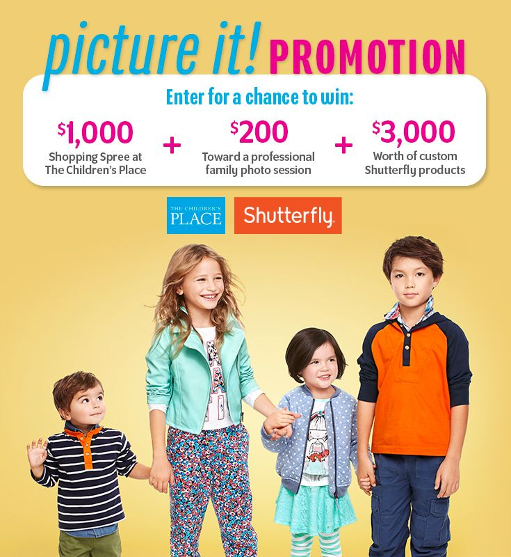 Enter The Children's Place Picture It Promotion for your chance to win over $4,000 in prizes! Check it out now. Sweepstakes ends March 2, 2015.