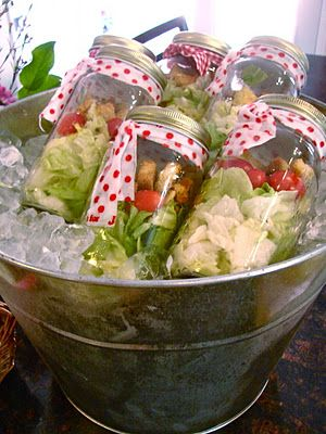LOVE THIS - Individual Salads, just add dressing and shake - how fun for a luncheon!
