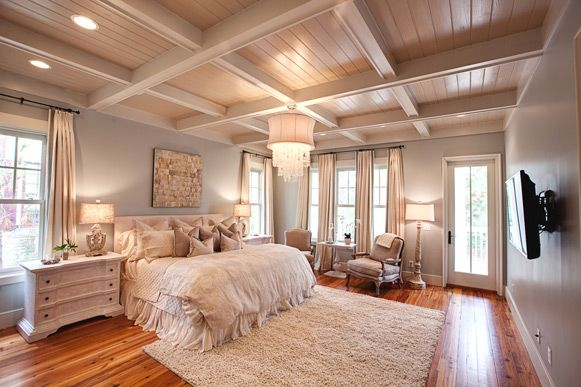 'Siena by the Sea' Watercolor Glamour, trey ceiling - wide planks, panels - Regina Andrews Shimmering Ivory Bell capiz chandelier - romantic, feminine textures and layers - gray blue palette - paneled drapery - recessed lighting - coastal glam