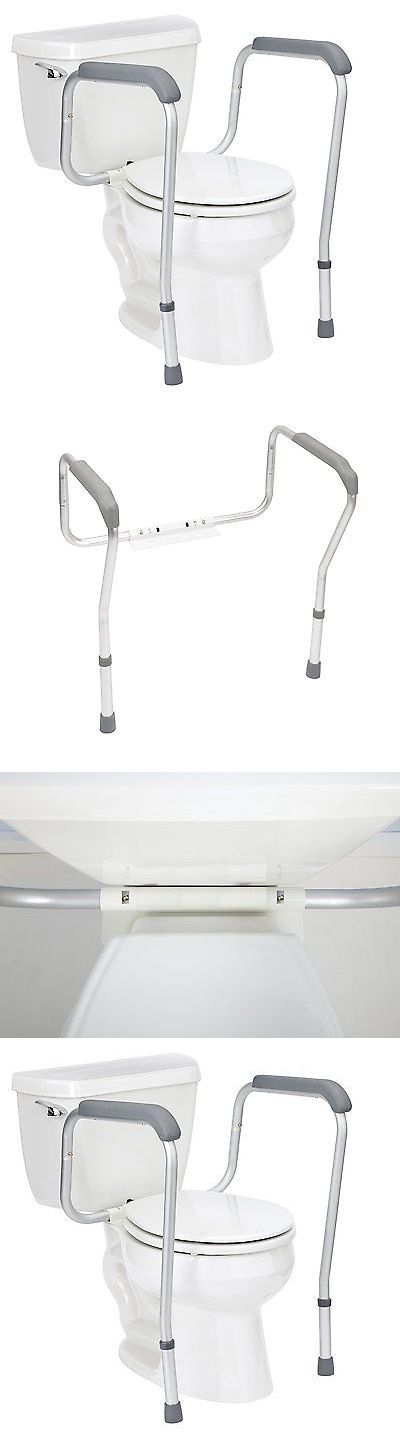 Handles and Rails: Grab Bars Adjustable Toilet Safety Rail Seat Handicap Assist Elderly Bathroom BUY IT NOW ONLY: $31.3