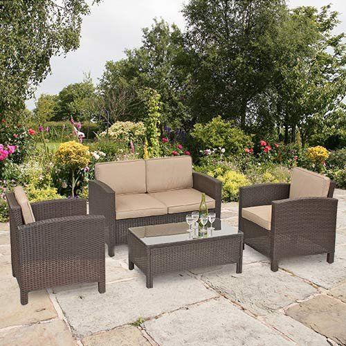 Suntime Brown Amalfi Rattan Suite with Beige Cushions  Amazon co uk  Garden. 10 best Garden Furniture images on Pinterest   Garden furniture