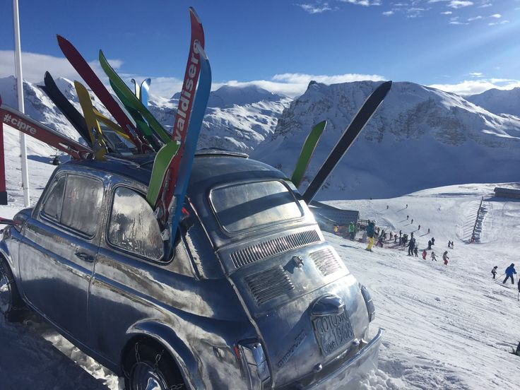 Fiat Uno with skis. Top of Olympique, Val D'Isere, France.