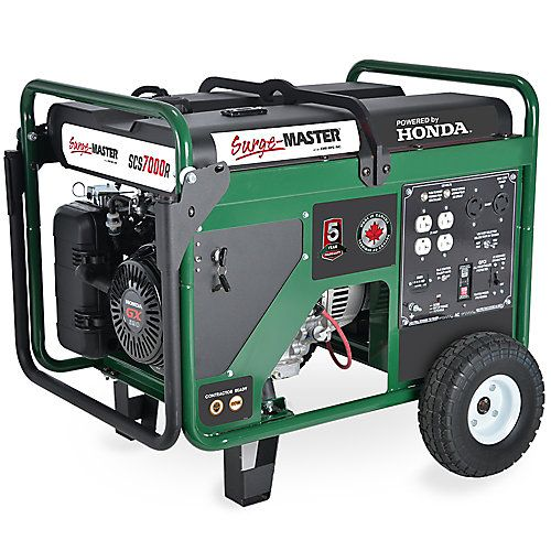 Canadian engineered and built in Canada. Leading Five (5) year consumer warranty means this unit is reliable and has long term durability. Ideal for medium - heavy workloads in construction, farming or home/cottage backup, Surge-Master Gas generators are your top choice. Full Power Switch & Auto Idle. Auto Voltage Regulation, Full panel GFCI with measured 70.5 dBA. Reliable Honda GX390 gas engine and Italian made Mecc-Alte alternator delivers the wattage you require. 120v/240v, ...