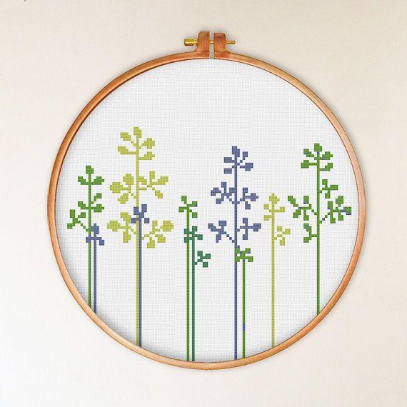 Lovely Grass cross stitch pattern modern cross by ThuHaDesign