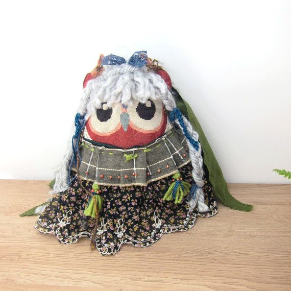 Owl Girl Doll Pillow  Wings owl Bohemian pillow by DidiRaDesigns