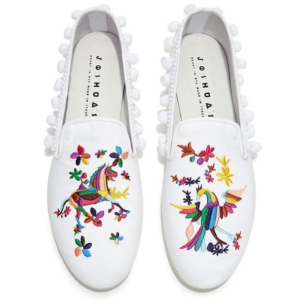 Joshua Sanders - Rainbow Embroidery Pom Pom Flats ($300) ❤ liked on Polyvore featuring shoes, flats, embroidered flats, rainbow footwear, joshua's shoes, flat shoes and rainbow shoes