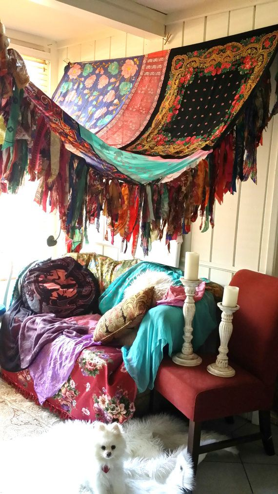 Bohemian Hippie Bedroom boho bedroom patio canopy bohemian hippy vtg bed scarves gypsy