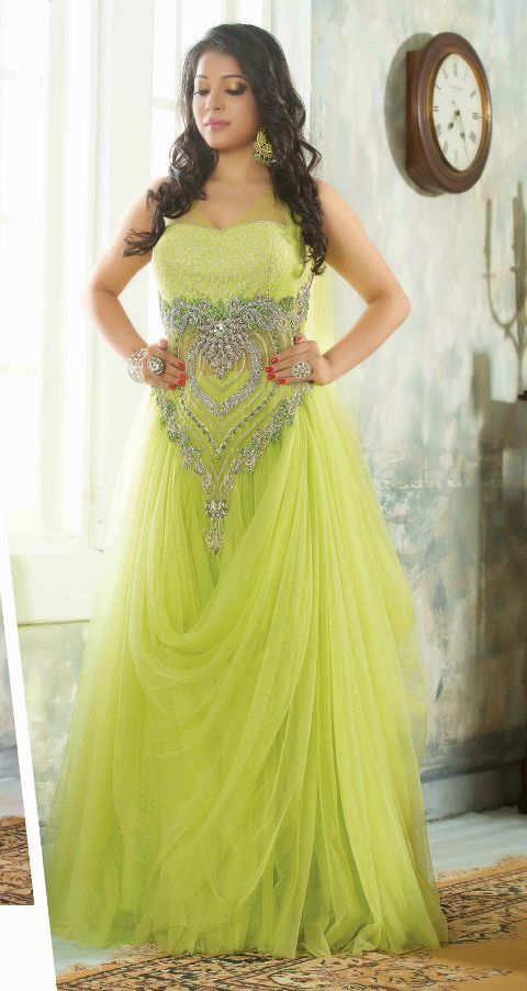 Heavy Embroidered Net Evening Gowns