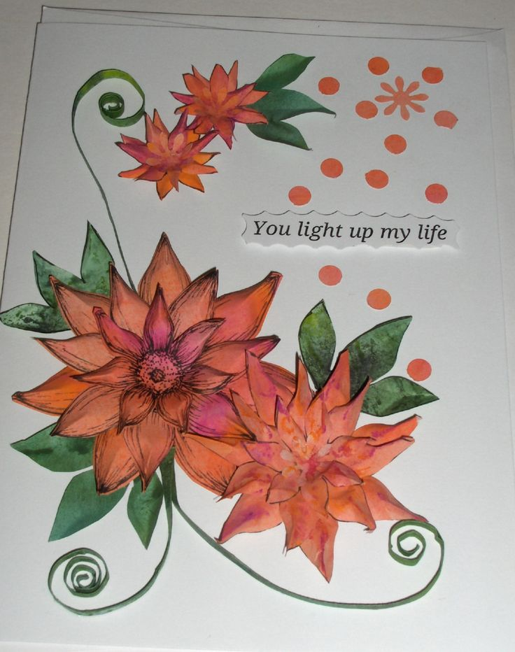#5 - A hand-made card with paper quilling and paper flowers - for sale - $8.00 - SOLD