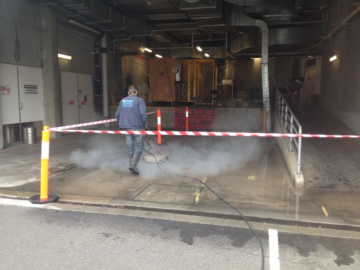 Professional commercial cleaning of concrete.