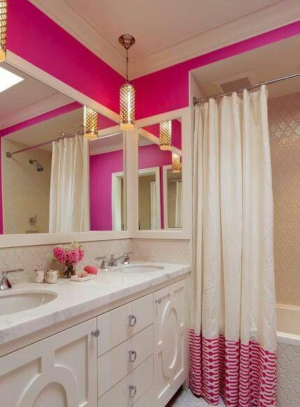 Pink bathroom - love the shower curtain