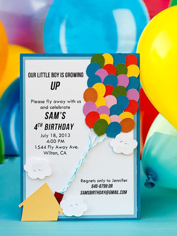 Balloon Theme Birthday Invitation by EmbellishedPaper on Etsy, $3.00