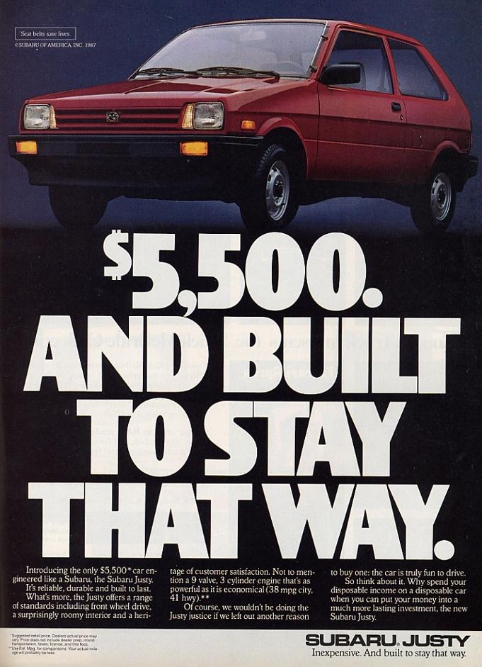 Subaru Justy ad.