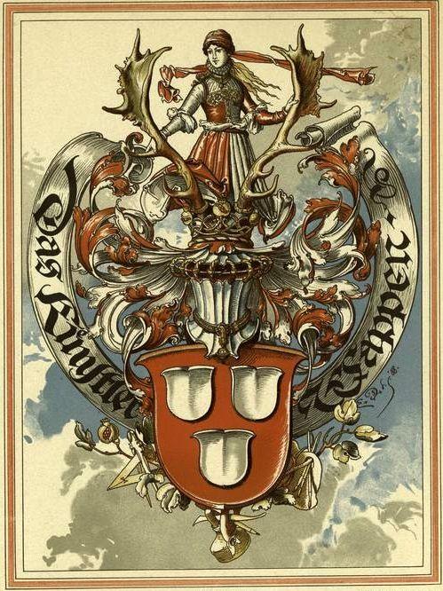 «Das Künstler Wappen», by Emil Doepler (1855-1922) -- From «Dekorative Vorbilder: eine Sammlung von figürlichen Darstellungen und kunstgewerblichen Verzierungen» (Stuttgart : Julius Hoffman, 1889-1928).