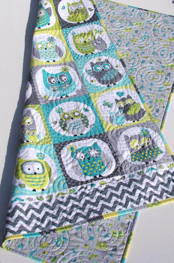 Owl Baby Quilt Boy Patchwork Bedding Blanket Nursery Crib
