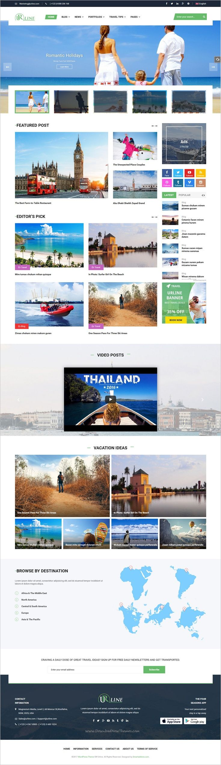 SW Urline is a classy, visually distinct and highly customizable responsive WordPress theme for #travel #magazine and #blog website with 3 homepage layouts download now➩ https://themeforest.net/item/urline-creative-wordpress-travel-news-and-magazine-theme/18009896?ref=Datasata