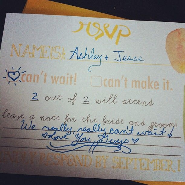 Great way to specify how many are invited! RSVP wedding invite