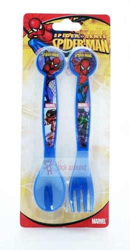 Spiderman plastic fork and spoon to help make eating fun. Selling in our Stick Around shop: http://www.stickaround.com.au/childrens-gifts-ideas/shop-for-boys/unique-gifts-for-boys/spiderman-cutlery-set.html