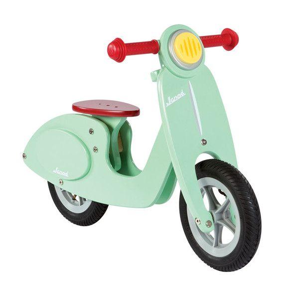 Janod løbecykel, mini scooter i træ - mint 1099