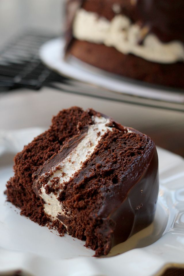 Salted Caramel Ding Dong Cake Recipe ~ ultra smooth caramel chocolate ganache, fluffy whipped cream filling, and rich chocolate cake